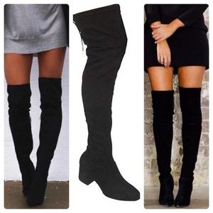 SOFT Over the Knee Black Faux Suede 2.5 Heel Boot